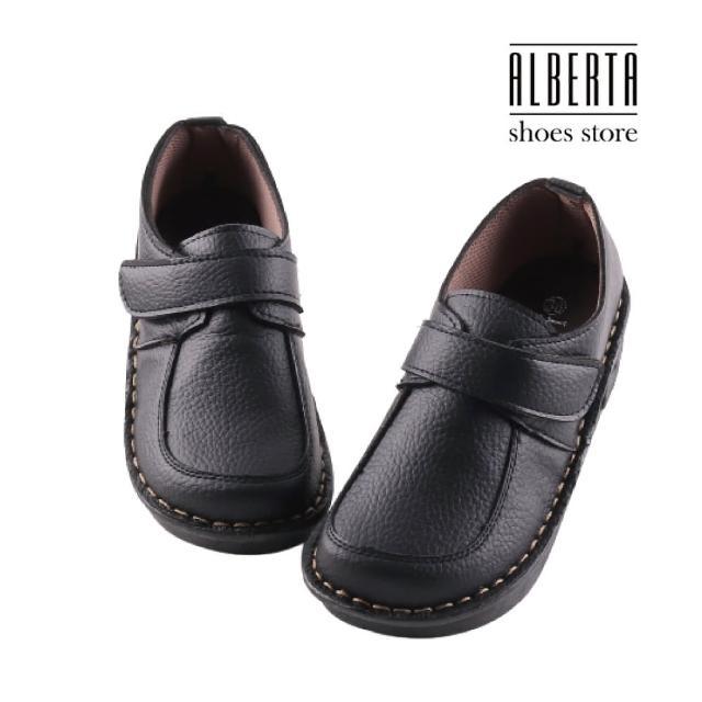 【Alberta】舒適好穿 純色簡約 皮質鞋面 厚底 魔鬼氈休閒鞋 工作鞋 MIT台灣製