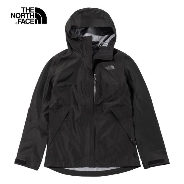 【The North Face】The North Face北面女款黑色防水透氣連帽衝鋒衣|496ZJK3