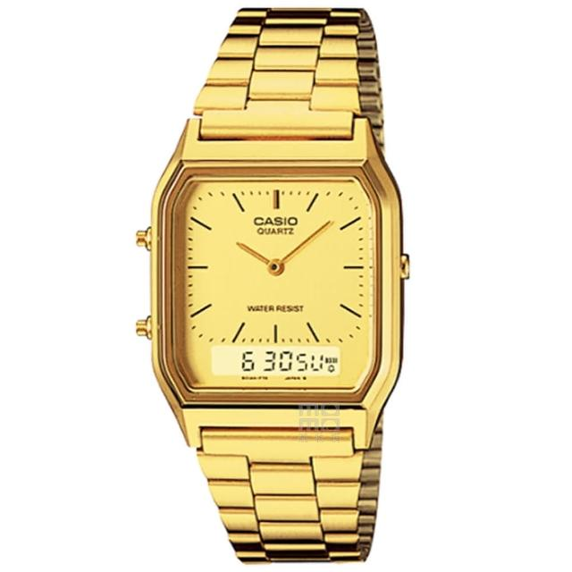 【CASIO 卡西歐】卡西歐雙顯多時區鬧鈴電子錶-金(AQ-230GA-9D 台灣公司貨)