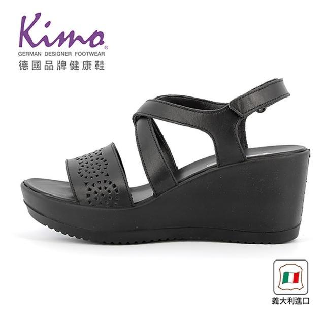 【Kimo】義大利製造圖騰簍空楔型涼鞋(都市黑5084201400)