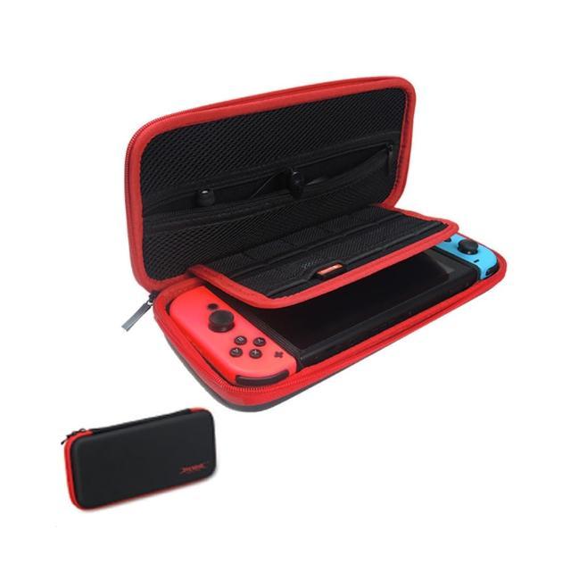 【任天堂Switch】硬殼保護包+遊戲片擴充卡夾+玻璃螢幕保護貼+防塵10件組+類比搖桿套3入套裝(-874-速達)