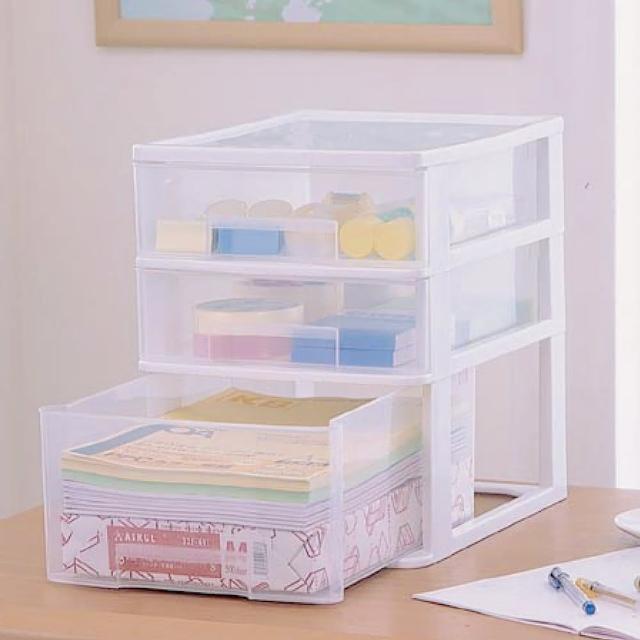 【IRIS】三層桌上型收納盒寬26公分 -淺型- ET-430(桌上型/收納/多尺寸/透明/好找)