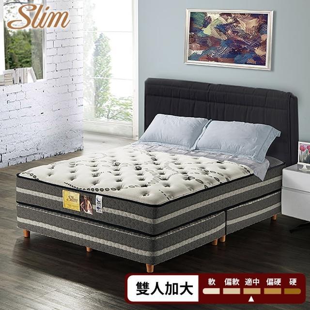【SLIM 加厚型】天絲銀離子抗菌紓壓獨立筒床墊(雙人加大6尺)