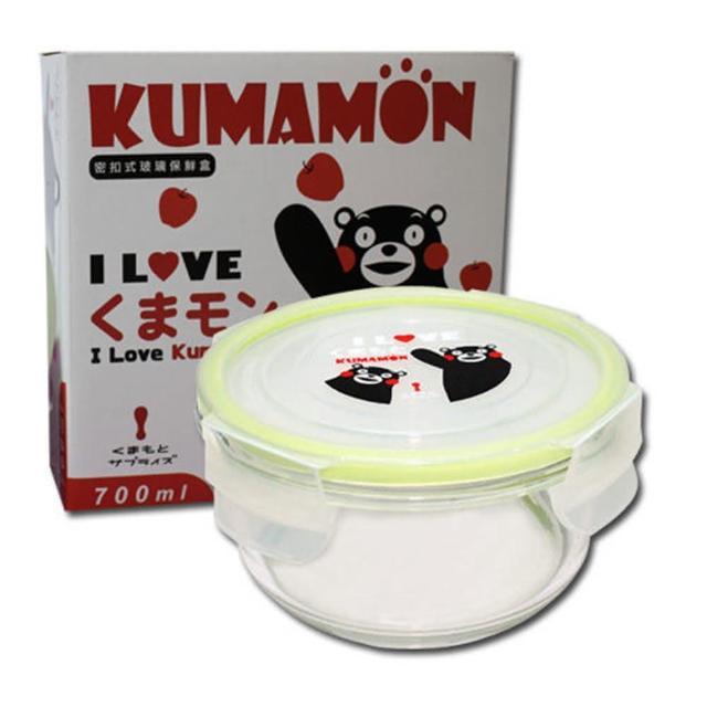 【KUMAMON 酷MA萌】熊本熊圓型玻璃保鮮盒一入