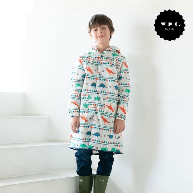 【w.p.c】空氣感兒童雨衣/超輕量防水風衣 附收納袋(白堊紀恐龍M)