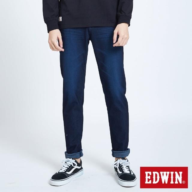 【EDWIN】JERSEYS EJ6超彈中低腰錐形牛仔長褲-男款(原藍磨)