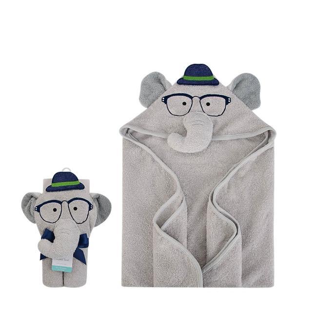 【Luvable Friends】100% 純棉嬰幼兒動物造型連帽浴巾/包巾_灰色大象(LF00429)