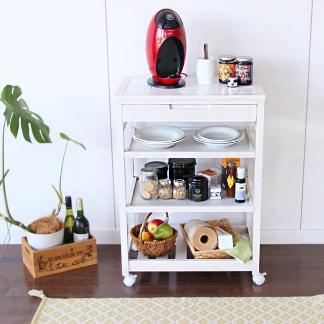 【日本 ICHIBA】ICHIBA 多用途層架置物櫃/餐車-窄(鄉村風/層架/推車/餐車)