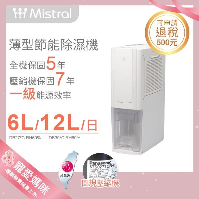 貨物稅減免$500【Mistral 美寧】一級能效12公升薄型節能清淨除濕機(JR-S65M)