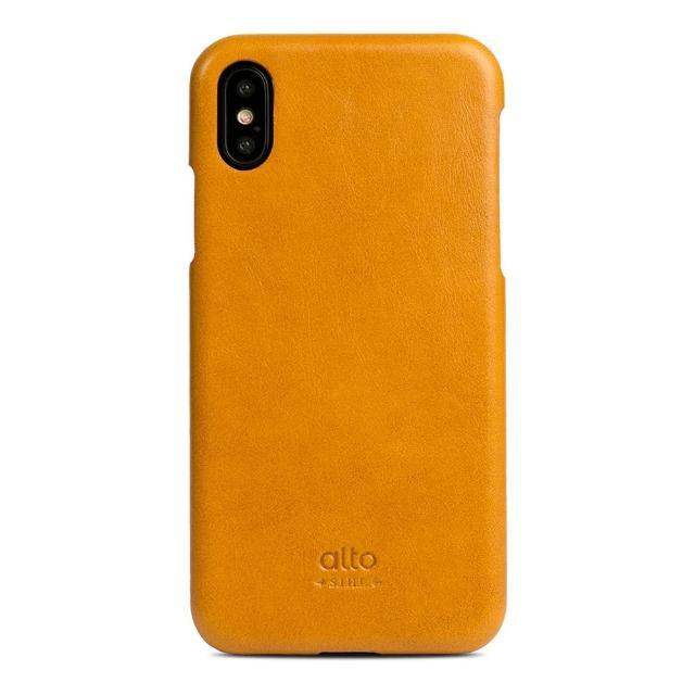 【alto】iPhone Xs 真皮手機殼背蓋 Original - 焦糖棕(義大利真皮皮革)
