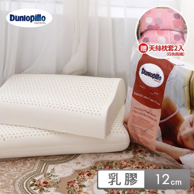 【送天絲枕套2入 花色隨機】英國百年品牌 Dunlopillo鄧祿普乳膠枕平面基本型乳膠枕(12公分/1入)