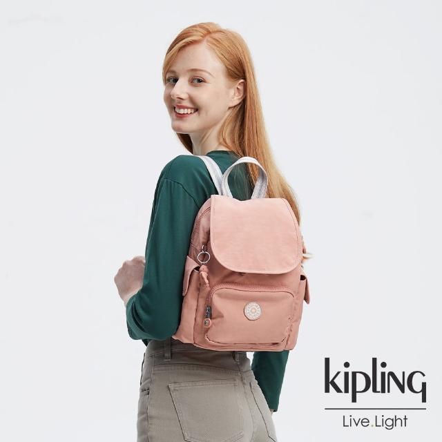 【KIPLING】奶油草莓拿鐵色拉鍊掀蓋後背包-CITY PACK MINI