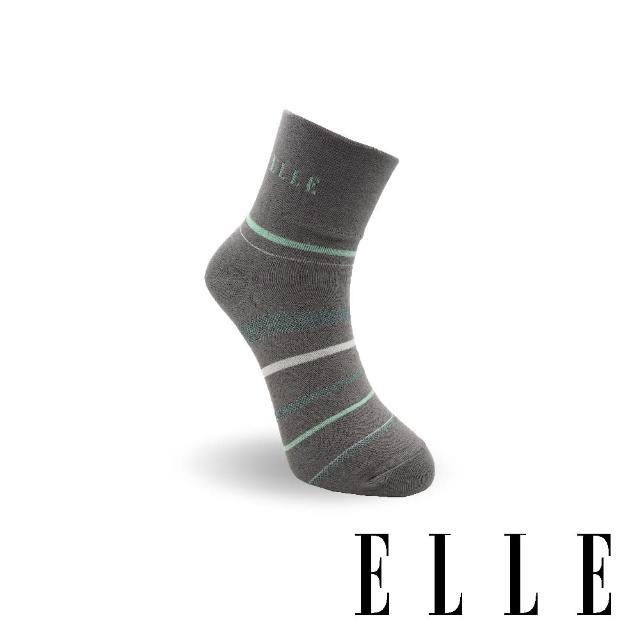 【ELLE】橫條寬口女襪-中灰(1/2女襪/女襪/寬口襪)