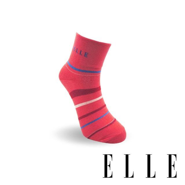 【ELLE】橫條寬口女襪-紅(1/2女襪/女襪/寬口襪)