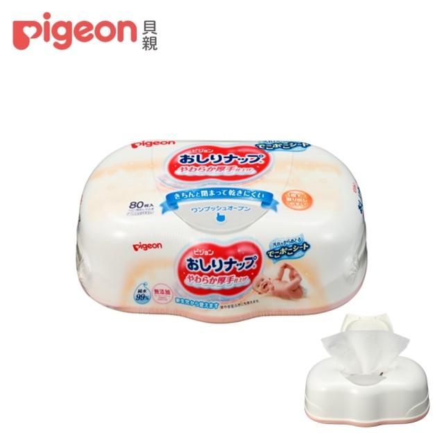 【Pigeon 貝親】加厚型純水濕巾80抽(盒裝)