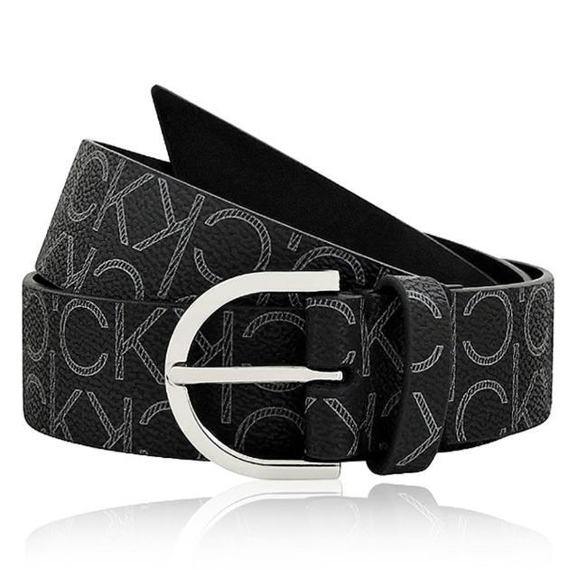 【Calvin Klein】LOGO皮革圓釦紳士皮帶-黑色(S~XL號/31-43吋)