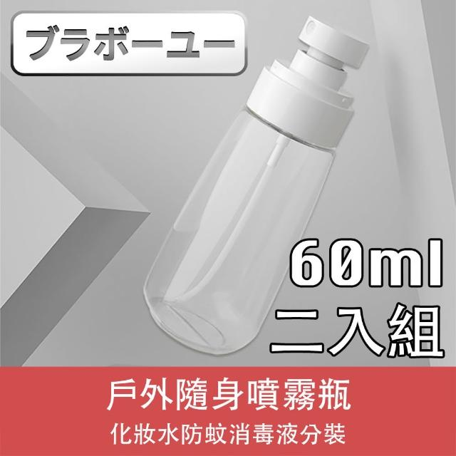 【百寶屋】戶外隨身化妝水消毒液分裝噴霧瓶(透明/60ml/2入)