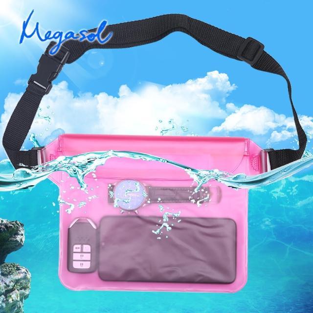 【MEGASOL】水上活動游泳浮潛水必備手機防水袋(側背加大防水腰包DD-D14多色可選)