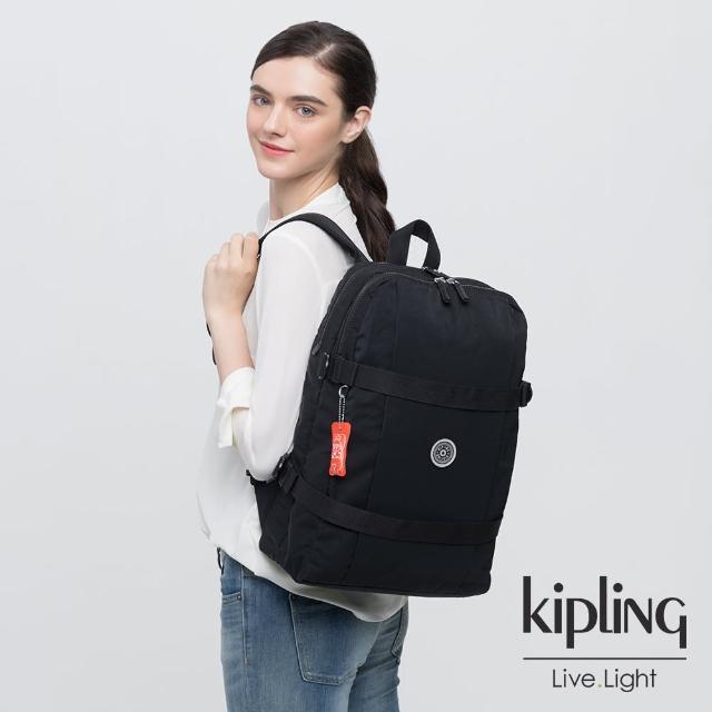【KIPLING】個性炭石黑前後雙層收納長形後背包-TAMIKO
