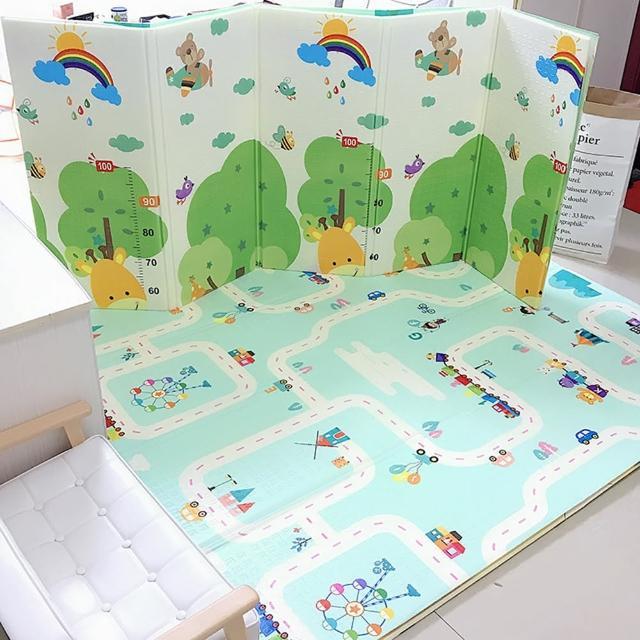 【Dagebeno荷生活】XPE環保無味材質寶寶爬行墊遊戲地墊 折疊收納身高尺卡通款