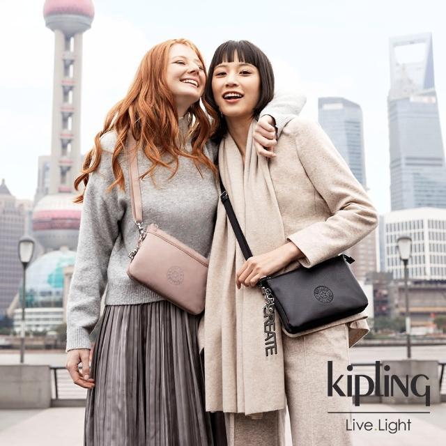 【KIPLING】溫柔沉穩粉單肩隨身斜背包-RIRI