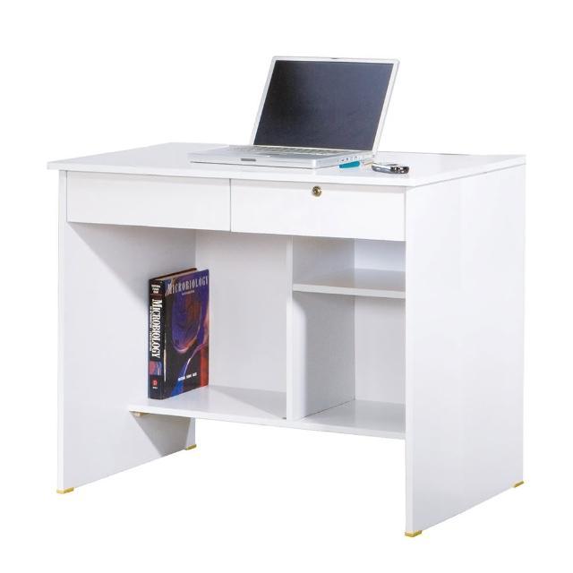 【AT HOME】現代經典傳統3尺白色二抽收納書桌/電腦桌/工作桌(下座/金點將)