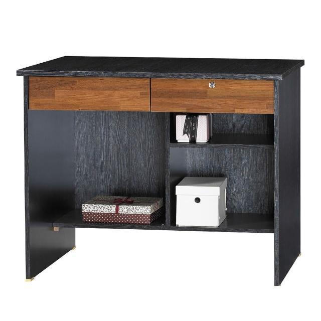 【AT HOME】現代經典傳統3尺鐵刀柚木色二抽收納書桌/電腦桌/工作桌(下座/金點將)