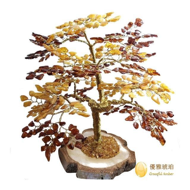 【優雅琥珀】歐洲原裝進口 630片天然琥珀樹(辦公室與居家財位 最佳之招財擺飾)