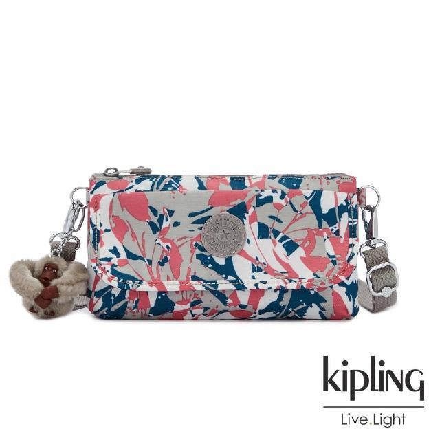 【KIPLING】碰撞魅力潑墨翻蓋肩背側背包-VECKA STRAP