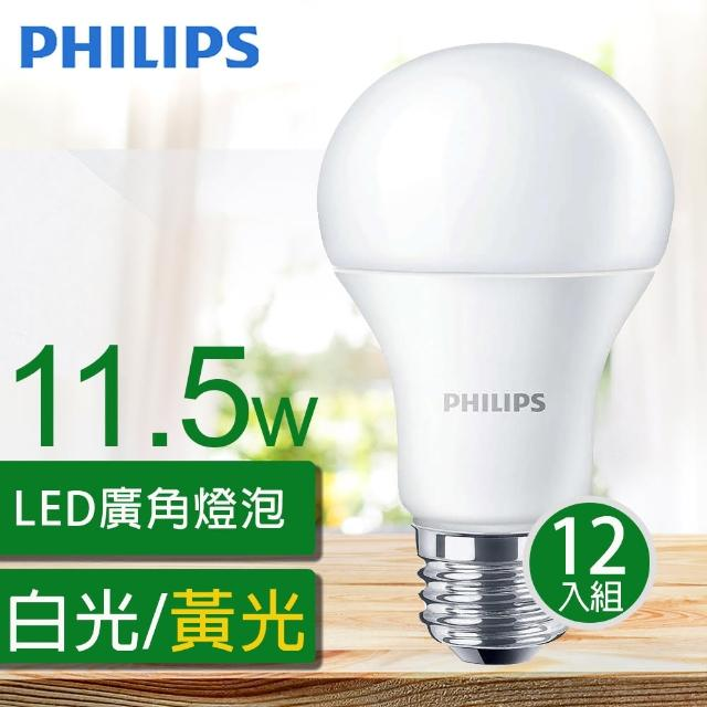 【Philips 飛利浦】舒視光LED廣角燈泡 11.5W 1200流明 全電壓(12入組)