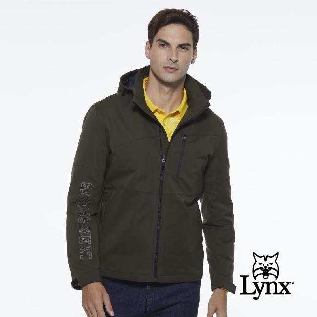 【Lynx Golf】男款防潑水防風保暖Lynx Sport繡花胸袋款連帽可拆式長袖羽絨外套(墨綠色)