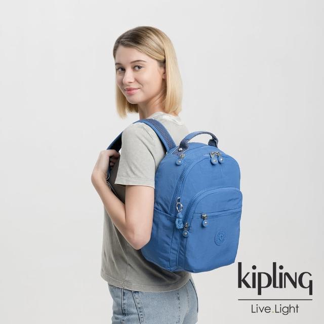 【KIPLING】經典海洋藍機能手提後背包-SEOUL S