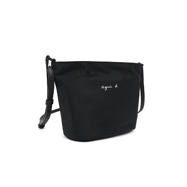 【agnes b.】Voyage 防潑水尼龍皮革背帶水桶包型斜背包(黑)