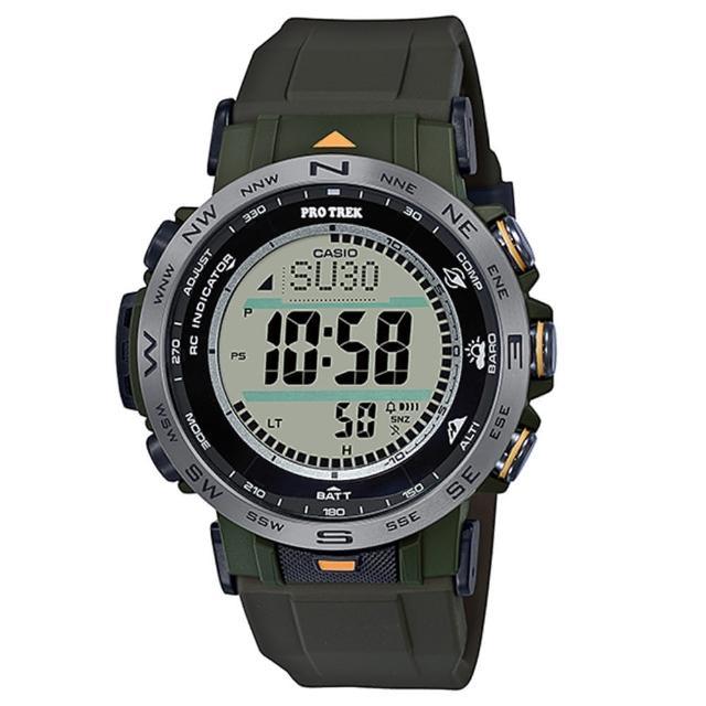 【CASIO 卡西歐】PRO TREK 登山錶系列/高度溫度氣壓方位偵測/6局電波接收/45mm(PRW-30Y-3)