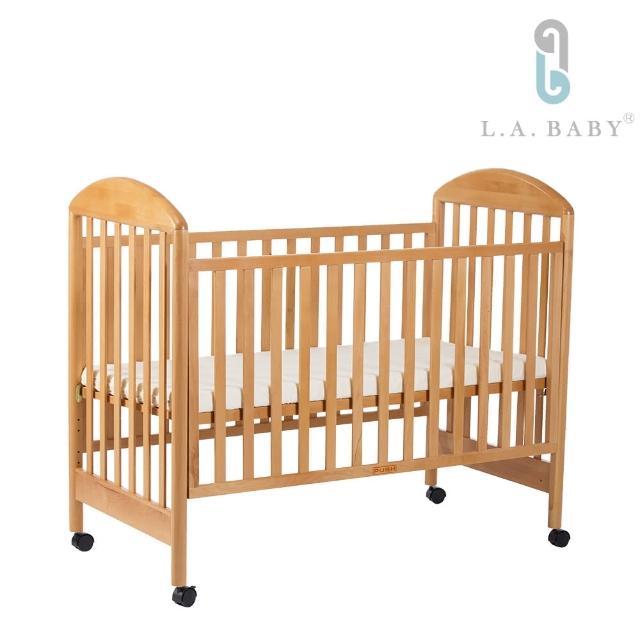 【L.A. Baby】Georgia喬治亞櫸木大床/原木色(淺咖啡色/白色+5cm乳膠床墊)