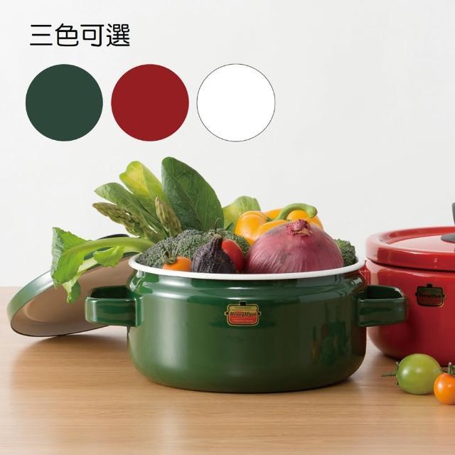 【FUJIHORO富士琺瑯】Solid系列-18cm雙耳附蓋琺瑯鍋2.2L(琺瑯/湯鍋/雙耳)