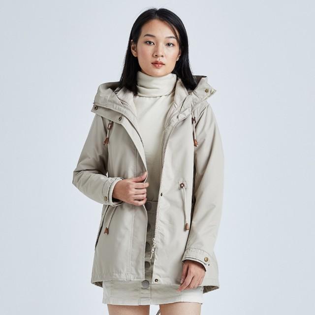 【DZRZVD 杜戛地】13838女款防水擋風保暖兩件式中長版外套(防風.擋雨.保暖三合一沖鋒衣)