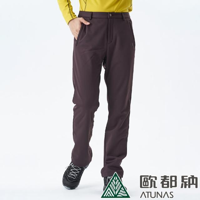 【ATUNAS 歐都納】男款WINDSTOPPER防風透氣長褲(A1-PA1626M深咖啡/抗潑水/刷毛柔軟/舒適保暖)