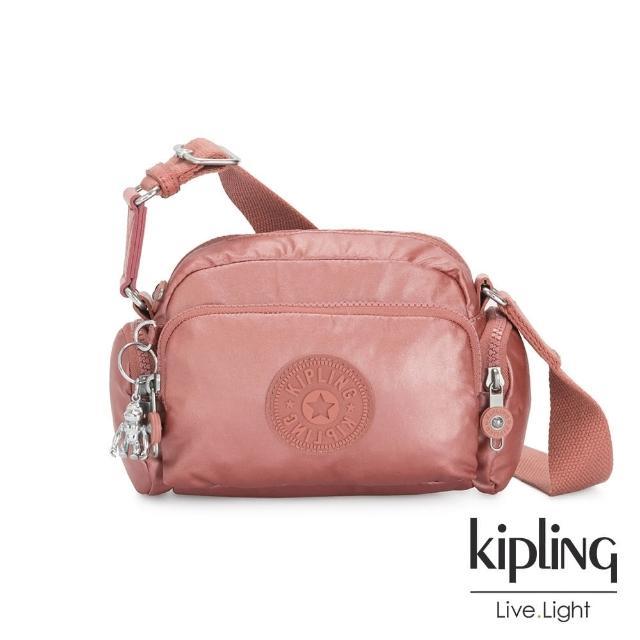 【KIPLING】甜美俏皮粉蜜桃粉好收納隨身斜背包-JENERA MINI