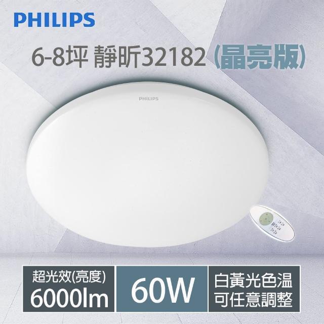 【Philips 飛利浦】32182 靜昕 60W 6000lm LED遙控調光吸頂燈 附遙控器(晶亮版)