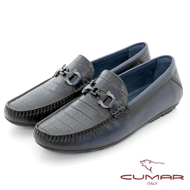 【CUMAR】樂活時尚 雅痞壓紋牛皮帆船鞋(藍色)