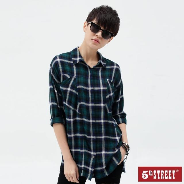 【5th STREET】女寬版格紋衫長袖襯衫-橄欖綠