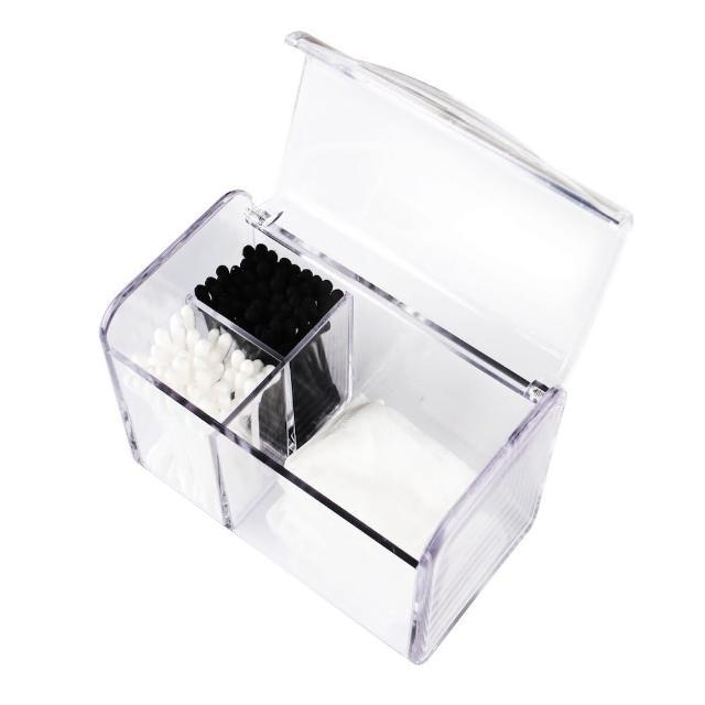 【目喜生活】防塵翻蓋化妝棉收納盒(抗菌防飛沫 掀蓋式透明棉籤收納盒)