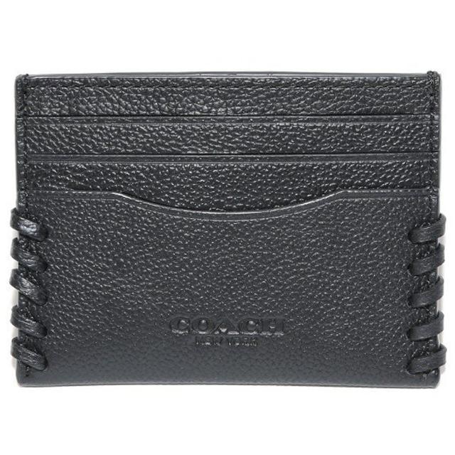 【COACH】型男黑色皮革編織名片夾