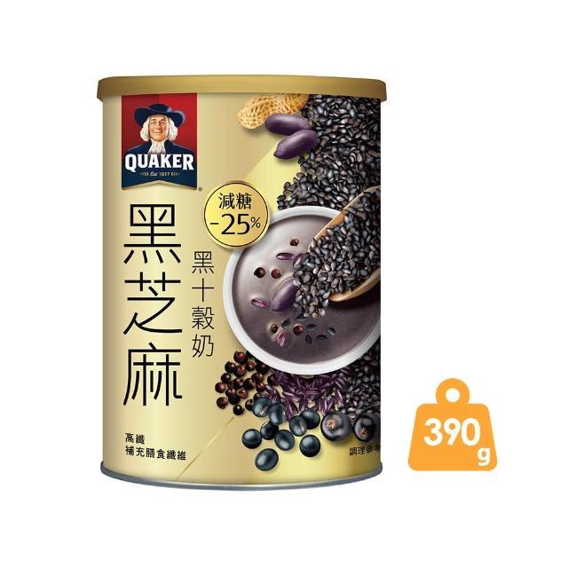 【QUAKER 桂格】桂格黑芝麻黑十穀奶 390g/罐(植物奶 全素可食)