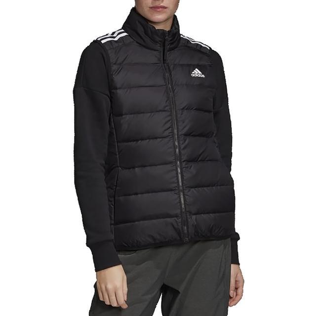 【adidas 愛迪達】ADIDAS W ESS DOWN VEST 連帽羽絨背心 保暖 女款 黑(GH4586)