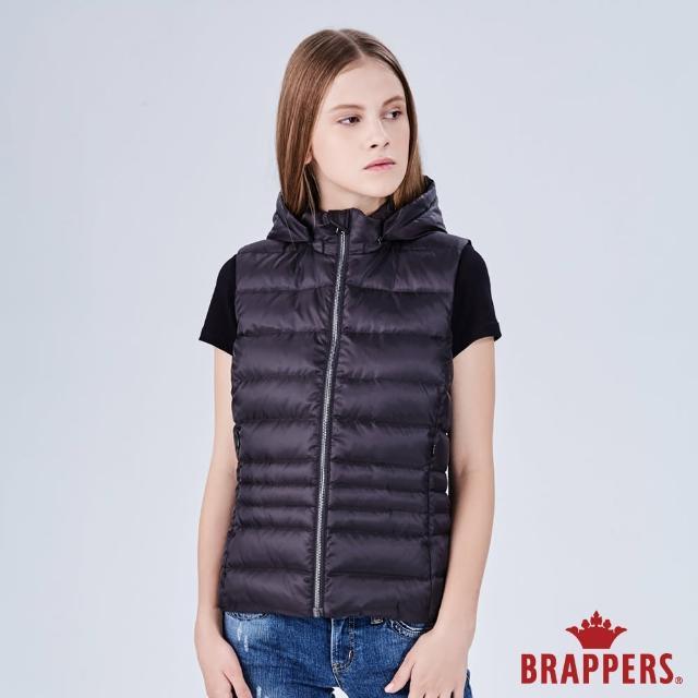 【BRAPPERS】女款 可拆式連帽修身羽絨背心(黑)