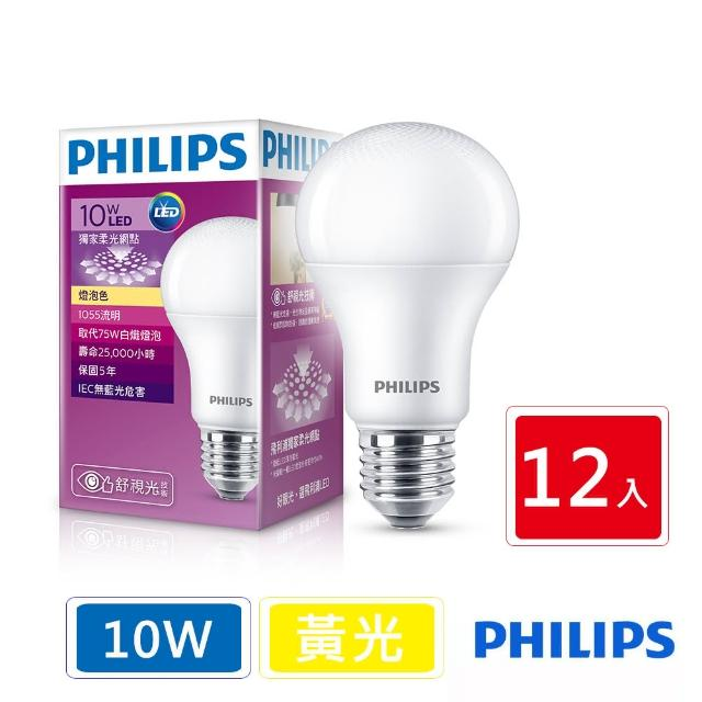 【Philips 飛利浦】LED廣角燈泡 10W 1055流明 3000K 全電壓 黃光(12顆入)