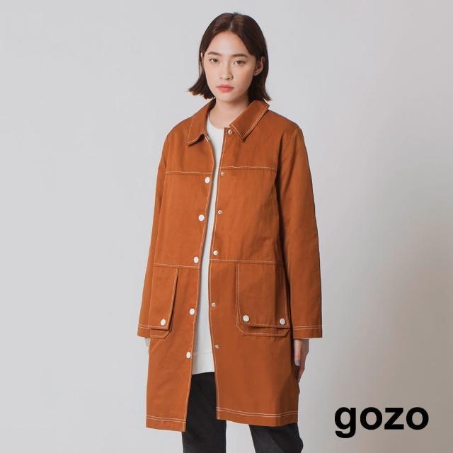 【gozo】率性長版車線設計外套(咖啡)