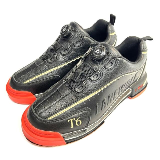 【DJ80嚴選】LANEWOLF 旋鈕鞋帶+真皮換底保齡球鞋-T6款黑色(大全配附3底+3跟+專屬鞋套)